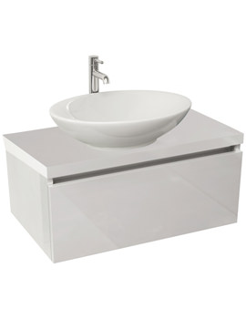 Echo 800mm White Gloss Single Drawer Wall Mounted Unit And Worktop