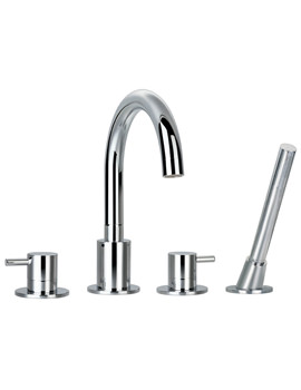 Levo 4 Hole Bath-Shower Mixer Tap With Handset And Hose