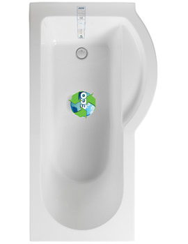 Arco Eco Right Hand 1500 x 850mm Shower Bath With Undrilled Overflow