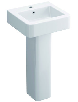 Pura Flite 450mm 1 Tap Hole Cloakroom Basin And Full Pedestal