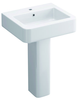 Pura Flite 530mm 1 Tap Hole Basin And Full Pedestal