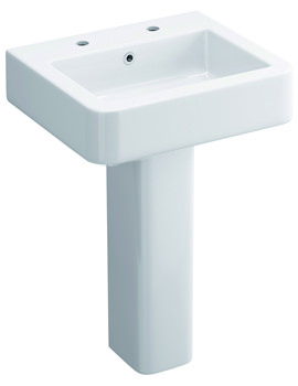 Flite 530mm 2 Tap Hole Basin And Full Pedestal