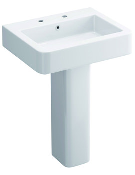 Flite 600mm 2 Tap Hole Basin And Full Pedestal