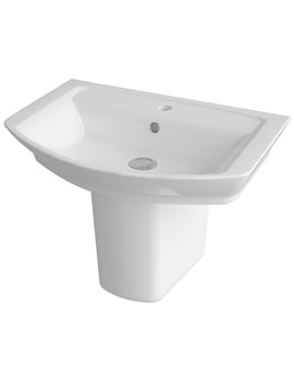 Hudson Reed Alton 650mm 1 Tap Hole Basin And Semi Pedestal - CLT004