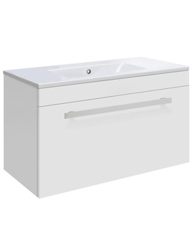 Ultra Design White Wall Hung Drawer Unit And Minimalist Basin 600mm