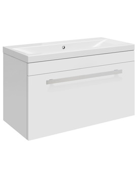 Ultra Design White Wall Hung Drawer Unit And Mid-Edged Basin 600mm