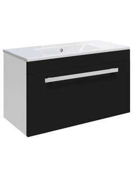 Ultra Design Black Wall Hung Drawer Unit And Minimalist Basin 600mm