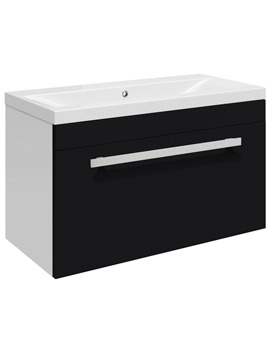 Ultra Design Black Wall Hung Drawer Unit And Mid-Edged Basin 600mm