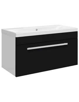 Related Ultra Design Black Wall Hung Drawer Unit And Mid-Edged Basin 800mm