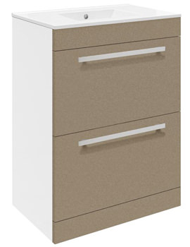 Related Ultra Design Caramel Floor Mounted 2 Drawer Unit And Minimalist Basin 600mm