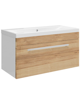 Related Ultra Design Natural Walnut Wall Hung Drawer Unit And Mid-Edged Basin 800mm