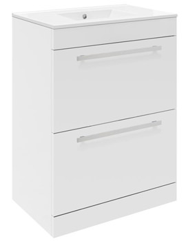 Related Ultra Design White Floor Mounted 2 Drawer Unit And Minimalist Basin 600mm