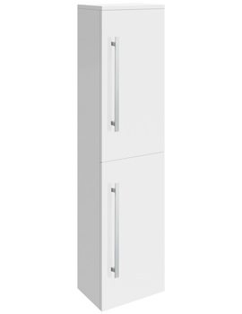 Design High Gloss White Wall Mounted Tall Side Cabinet 350 x 1400mm