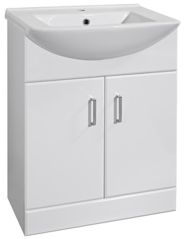 Ultra Marvel High Gloss White 650 Basin And Cabinet - FMV008