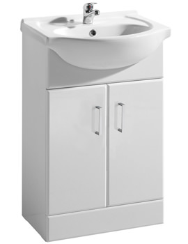 Ultra Beaufort High Gloss White 550 Basin And Cabinet - FMV002