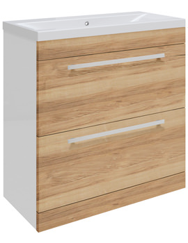 Related Ultra Design Walnut Floor Mounted 2 Drawer Unit And Mid-Edged Basin 800mm