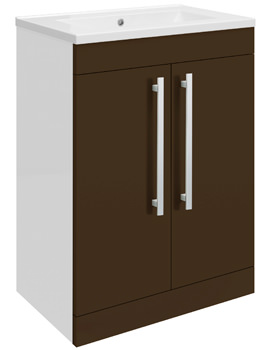 Related Ultra Design Ebony Floor Mounted 2 Door Unit And Mid-Edged Basin 600mm