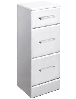 Ultra Marvel-Beaufort White 3 Drawer Storage Unit 350 x 768 x 300mm
