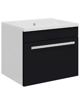 Related Ultra Design 500 Compact Black Wall Hung Single Drawer Unit And Basin