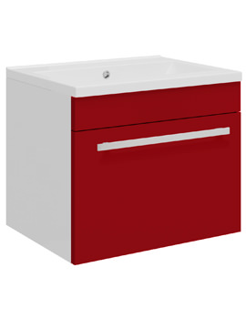 Related Ultra Design 500 Compact Red Wall Hung Single Drawer Unit And Basin