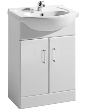 Ultra Beaufort High Gloss White 650 Basin And Cabinet - FMV003