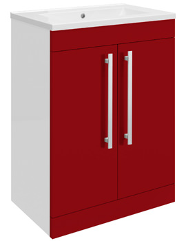 Related Ultra Design Red Floor Mounted 2 Door Unit And Minimalist Basin 600mm
