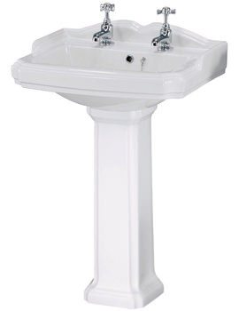 Related Ultra Beresford 580mm 2 Tap Hole Basin And Full Pedestal - CBE001