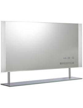 Related Ultra Portal Backlit Mirror With Digital Clock - USB Port And Shelf