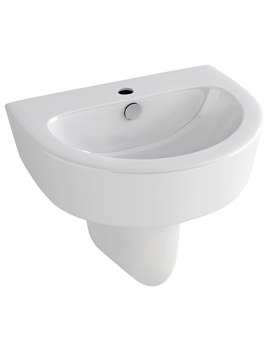 Pura Arco 550mm 1 Tap Hole Basin And Half Pedestal - L1088C-P1072A