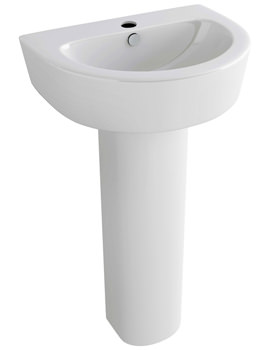 Arched 550mm Basin With 1 Tap Hole And Full Pedestal
