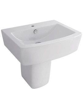 Bloque 550mm 1 Tap Hole Basin And Half Pedestal