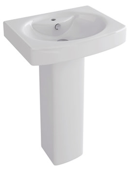 Dekka 550mm 1 Tap Hole Basin And Full Pedestal - L1094-P1094