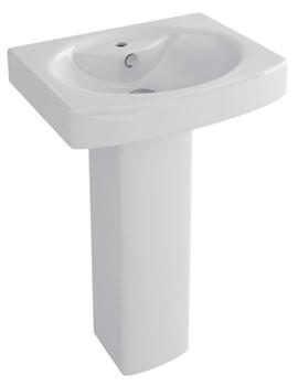 Dekka 550mm 1 Tap Hole Basin And Full Pedestal - L1094-P1094