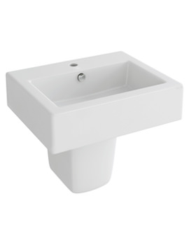 Str8 500mm 1 Tap Hole Rectangular Basin And Half Pedestal