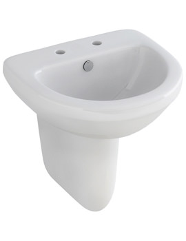 Ivo 500mm Compact 2 Tap Hole Basin And Half Pedestal