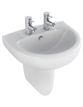 Related Pura Xcite 560mm 2 Tap Hole Basin And Half Pedestal - L1052-P1072A