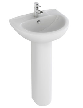 Related Pura Xcite 560mm 1 Tap Hole Basin And Full Pedestal - L1051-P1082