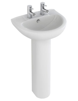 Related Pura Xcite 560mm 2 Tap Hole Basin And Full Pedestal - L1052-P1082