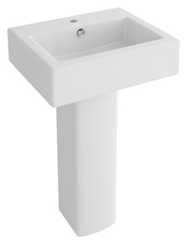 Str8 500mm 1 Tap Hole Rectangular Basin And Full Pedestal
