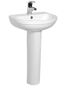 Ivo 500mm Compact 1 Tap Hole Basin And Full Pedestal