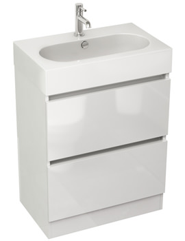 Echo 600mm White Gloss Double Drawer Floor Standing Unit And Basin