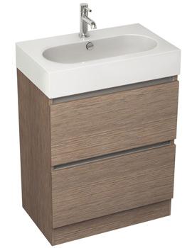Pura Echo 600mm Soft Oak Double Drawer Floor Standing Unit And Basin