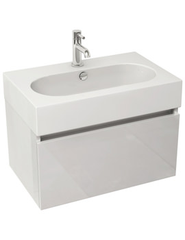 Echo 600mm White Gloss Single Drawer Wall Mounted Unit And Basin