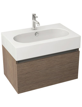 Echo 800mm Soft Oak Single Drawer Wall Mounted Unit And Basin