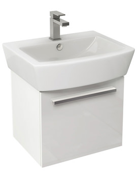 Bloque 470mm Gloss White Wall Hung Single Drawer Unit And 550mm Basin