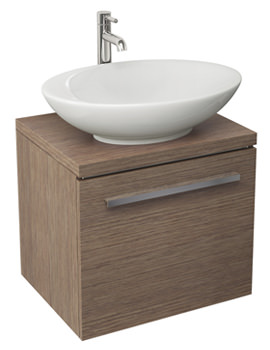 Pura Bloque Soft Oak Wall Hung Single Drawer Unit And Worktop 470mm