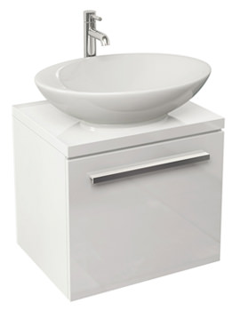 Bloque Gloss White Wall Hung Single Drawer Unit And Worktop 470mm