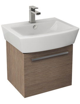 Pura Bloque 470mm Soft Oak Wall Hung Single Drawer Unit And 550mm Basin