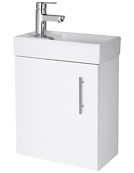 Lauren Minimalist Compact 400mm White Wall Hung Unit And Basin