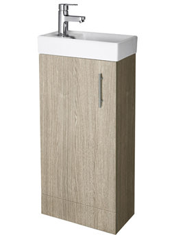 Lauren Minimalist Compact Light Oak Floor Standing Basin Unit 400mm
